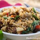 Vegan Spicy Thai Basil Fried Rice With Chicken-Style Seitan