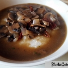 Southern Vegan Breakfast - Grits and Gravy with Sauteed Mushrooms